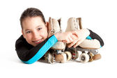 Little girl with roller skates — Stock Photo