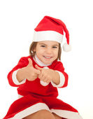 Little girl wearing santa clothes — Stock Photo