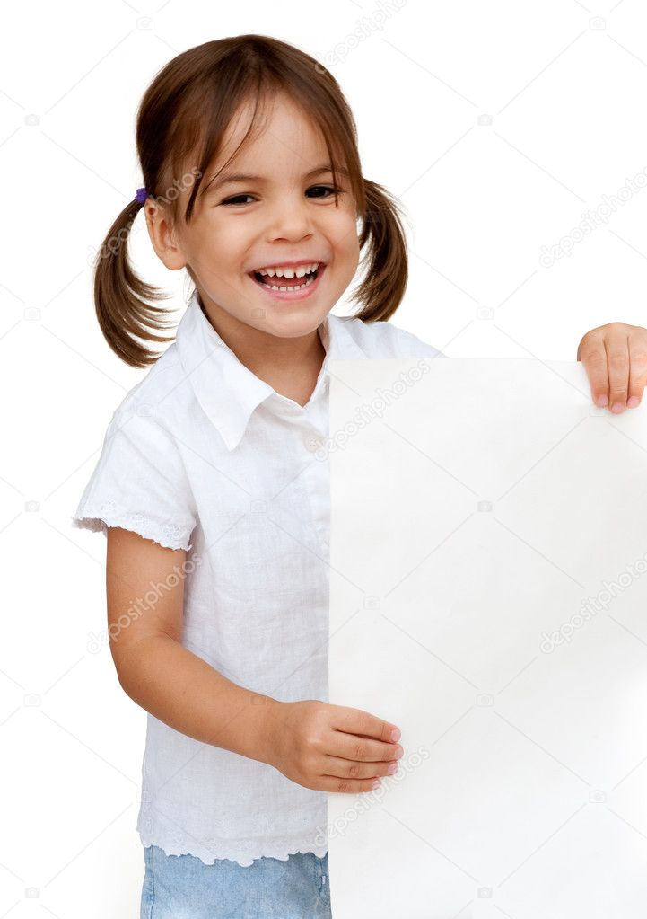 Little girl holding a white banner isolated on white — Stock Photo #9139450