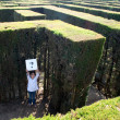 Little girl lost on a maze - Stock Photo