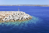 Bulwark To Protect The Harbour From Wave Strikes — Stock Photo