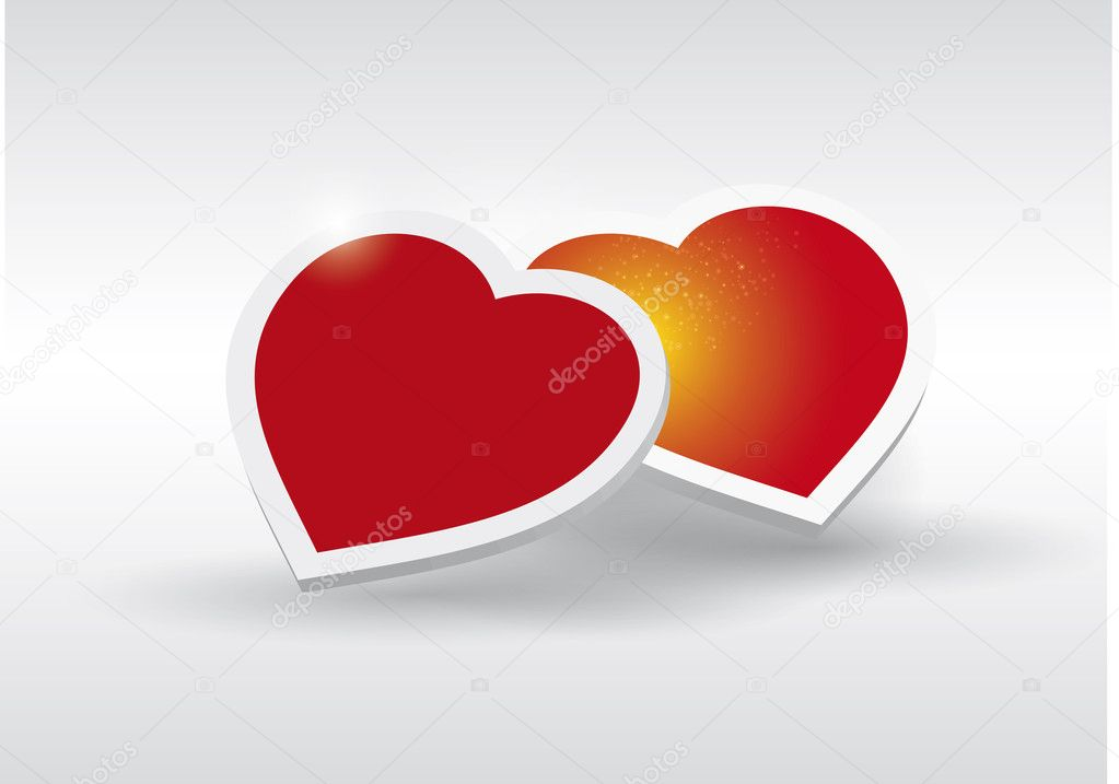 Two Red Heart - Fall in love vector — Stock Vector #10081060