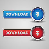 Download buttons red and blue — Stock Vector