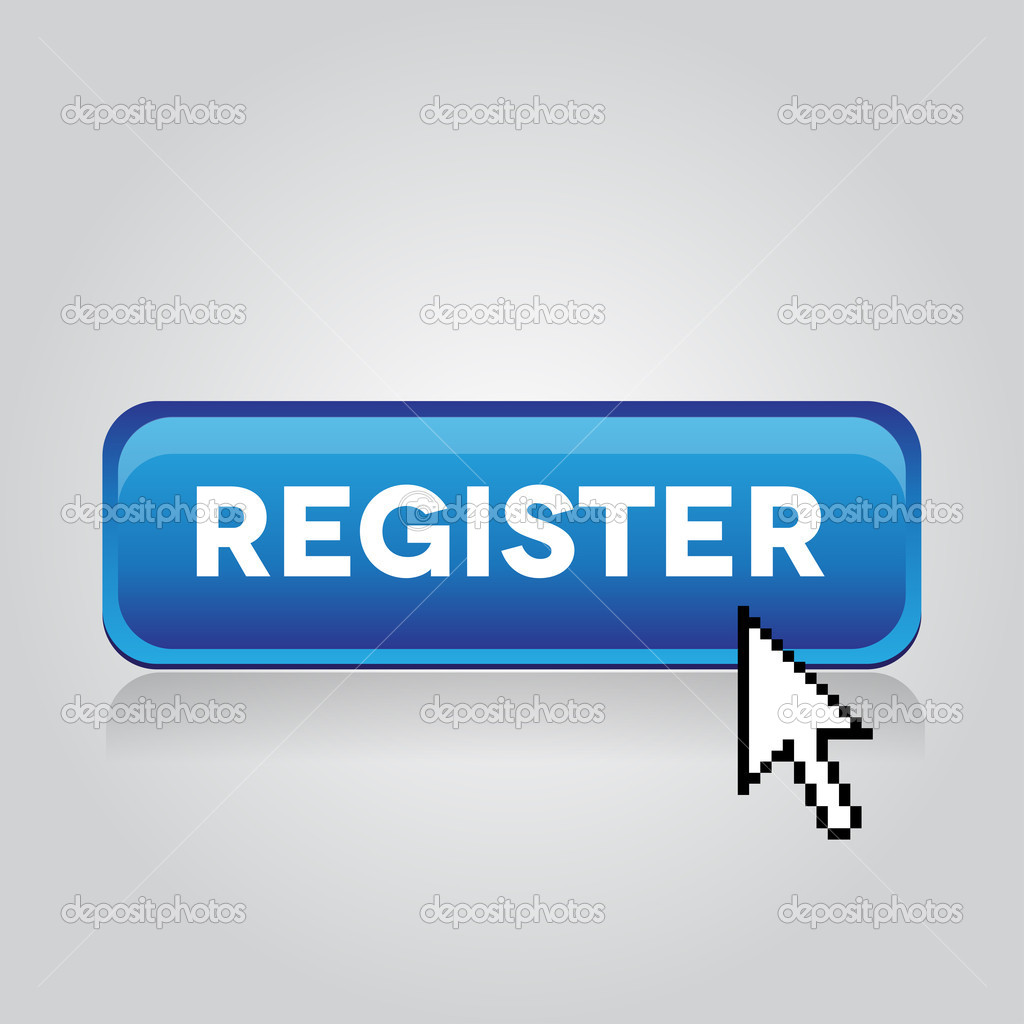 Blue register button with mouse cursor  Stock Vector #10208025
