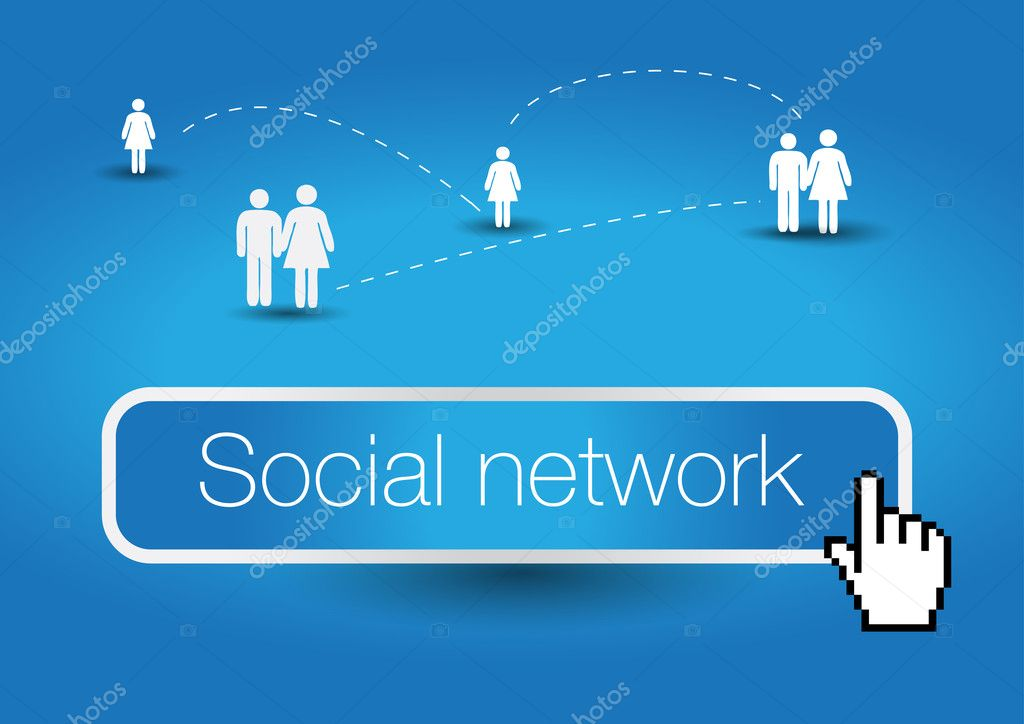 Social network concept - with mouse cursor — Stock Vector #10302146
