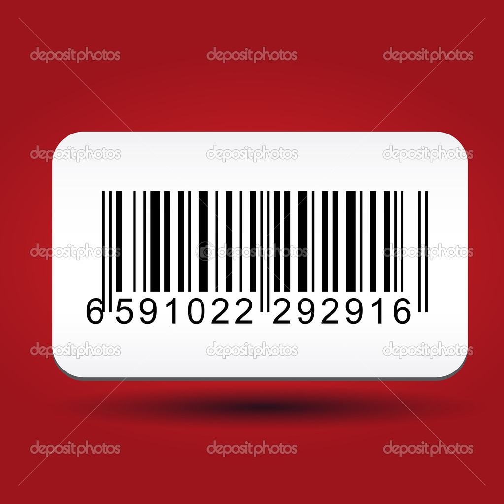 Barcore label sticker on red background  Stock Vector #10476014