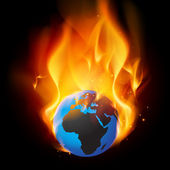 Burning globe - End of days — Stock Vector