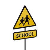 警告道路标志-学校 — 图库矢量图片