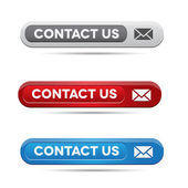 Set of contact us buttons - grey, green and blue — Stock Vector