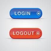 Set login logout knoppen - rood, blauw — Stockvector