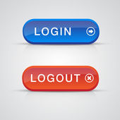 Set of login logout buttons - red, blue — Stock Vector