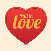 Red Heart label - Fall in love vector — Stock Vector