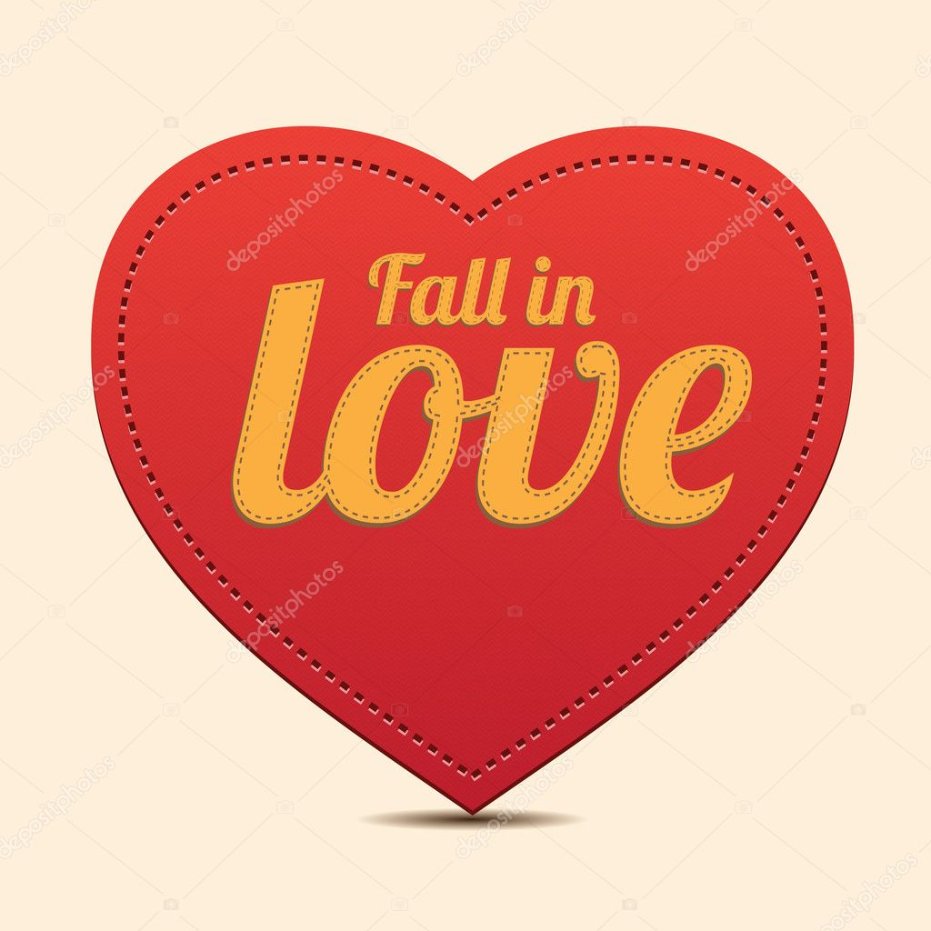 Vector Red Heart label - Fall in love vector — Stock Vector #9874697