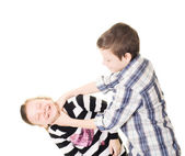 Play fighting brother and sister — Stock Photo