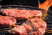 Steak on grill fire-toasted — Stock Photo