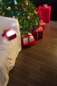 Christmas decoration with open gift — Stock Photo
