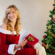 Stock Photo: Smiling beautiful womwith christmas gift