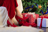 Prezent na Boże Narodzenie, drzewo i ozdoba — Zdjęcie stockowe