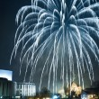 Firecrackers over the river at night — Stock Photo