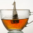 Brewing up hot tea with teabag isolated on white background — Stock Photo
