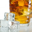 Closeup ice tea with dewdrop on cubes — Stock Photo
