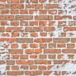 Stock Photo: Old snowy wall made from red brick