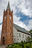 Old church made from red brick in summer — Stock Photo