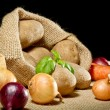 Vegetables in burlap sack — Stock Photo