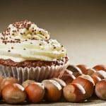Closeup muffin with vanilla cream and lots of hazelnut — Stock Photo #9342002