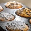 Muffin with chocolate chip and caster sugar — Stock Photo