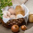 Stock Photo: Closeup eggs and bread fo easter breakfast