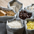 Cooking food ingredients in cloth bags — Stock Photo