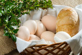 Closeup eggs and bread in basket — Stock Photo