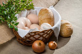 Closeup eggs and bread fo easter breakfast — Stock Photo