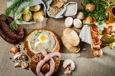 Rural sumptuous table for Easter — Stock Photo