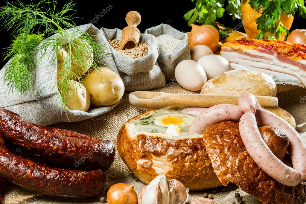 Soup in bread for easter breakfast — Stock Photo #9982575