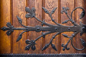 Metal ornament on wooden door — Стоковое фото