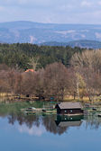 A wooden hut on a lake — Stock Photo