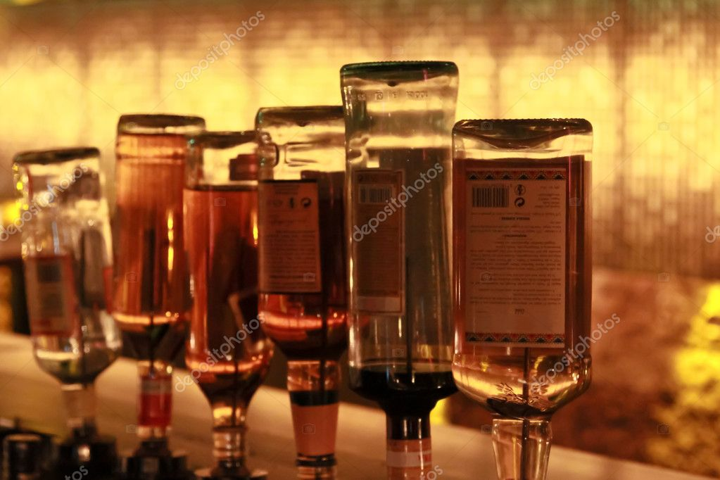 Six bottles of liquor in a bar in a public Vienna  Stock Photo #10585282