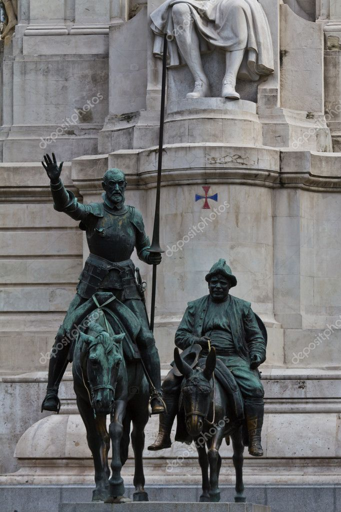 The famous monument of Cervantes' figures Don Quijote and Sancho Panza in Madrid (Spain Square)  Stock Photo #10585621