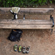 Bench left for sports — ストック写真