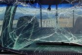 Smashed windshield glass — Stock Photo