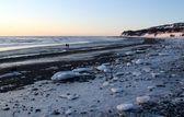 Icy Alaskan beach at dusk — Stock Photo