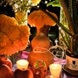 Mexican day of the dead offering altar (Dia de Muertos) - Stock Photo