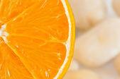 Orange slice closeup — Stok fotoğraf