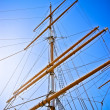 Upwards view of a ship's masts — Stock Photo