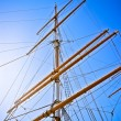 Upwards view of a ship's masts - Stock Photo