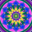 Floral mandala, geometric drawing sacred circle - Stock Photo
