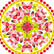 Mandala red butterflies on white background - Stock Photo