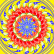 Yellow spinning  sacred circle mandala — Stock Photo